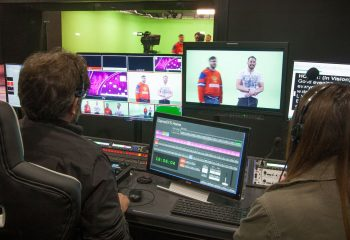 The green screen control room in Gamesys' TV studio complex