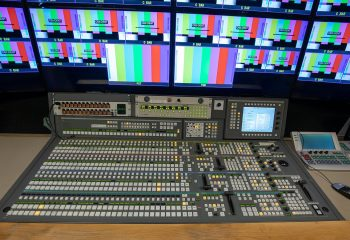 Reference 813   14-CAMERA SINGLE-EXPANDING HD OB TRUCK   Production area with Grass Valley XTEN 4 ME 54-input HD vision mixer