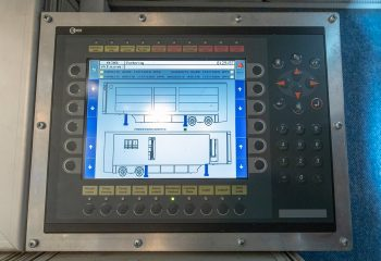 Reference 813   14-CAMERA SINGLE-EXPANDING HD OB TRUCK   Control panel for operating hydraulic systems