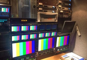 Reference 818 | 6 HD rigid ob truck | Harris Platinum 128 x 128 HD video router, EVS XT3 Nano production server with 1x controller