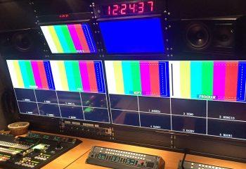 Reference 818 | 6 HD rigid ob truck | For-A HVS-390HS vision mixer, Genelec audio monitors, Harris RCP-32XL panels