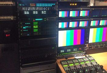 Reference 818 | 6 HD rigid ob truck | Harris Platinum 128 x 128 HD video router, EVS XT3 Nano production server