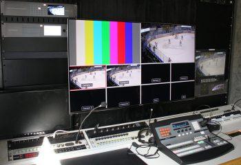 "Blackmagic Design Atem 2ME Production Studio 4K vision mixer, 49"" Samsung 4K multiviewer monitor, Datavideo TLM-170P 17"" 3G-SDI HD LCD monitor"