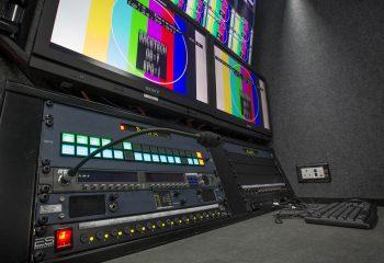 Close-up of graphics/edit workspace, RaceTech 14-camera HD OB trucks