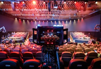 A camera films the launch event at OGN's esports studio