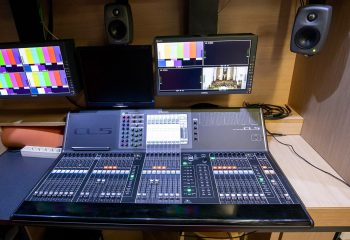 Reference 834 | 12-Camera Double Expander HD 3G OB Truck | Audio area - Yamaha CL5 with Interface box Rio 3224D and mixing console C01V96I