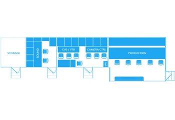 ES Broadcast Ref 835 | 12 Camera Single Expander HD OB Truck | Floor plan