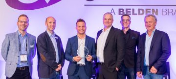 Ben Murphy of ES Broadcast receives a Grass Valley award for multi-million pound growth in the EMEA market.