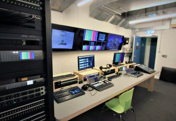 The production gallery for the UHD TV studio at the BRIT School