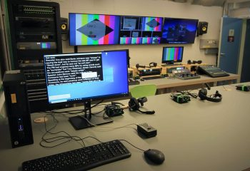 A prompt screen within the upgraded production room at Brit School's newly upgraded UHD TV Studio
