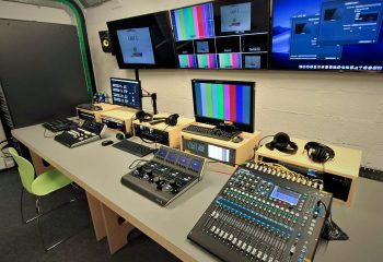 The main production room at the BRIT School's renovated UHD TV Studio