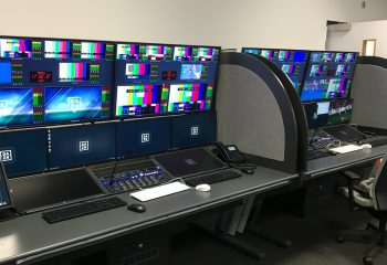 TX Operator desks at the DAZN Leeds playout facility